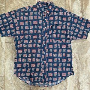 Chaps Ralph Lauren American Flag Patriotic Button Up Button Down Shirt Large